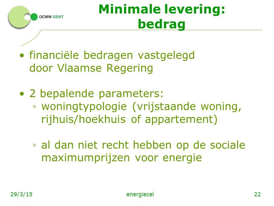 Minimale levering: bedrag