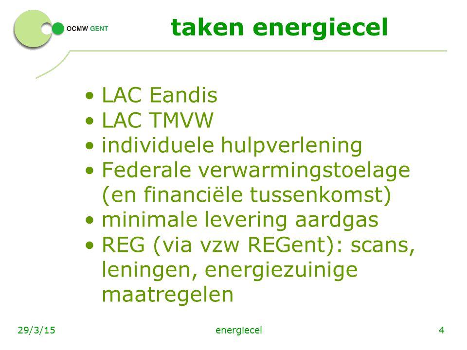 taken energiecel LAC Eandis LAC TMVW individuele hulpverlening