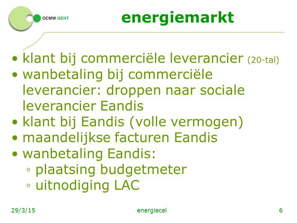 energiemarkt klant bij commerciële leverancier (20-tal)