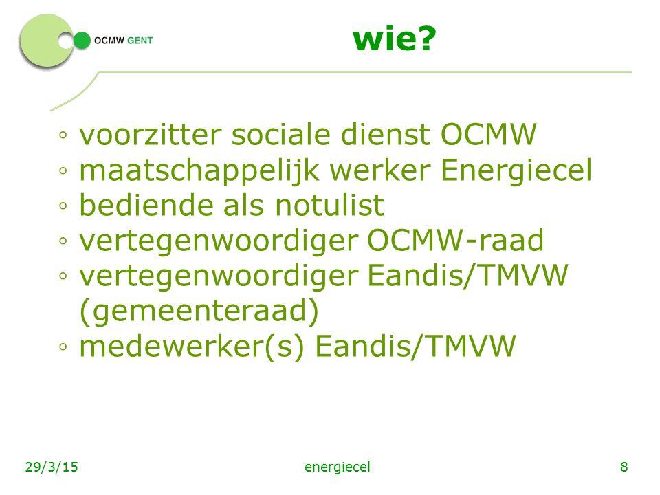 wie voorzitter sociale dienst OCMW maatschappelijk werker Energiecel