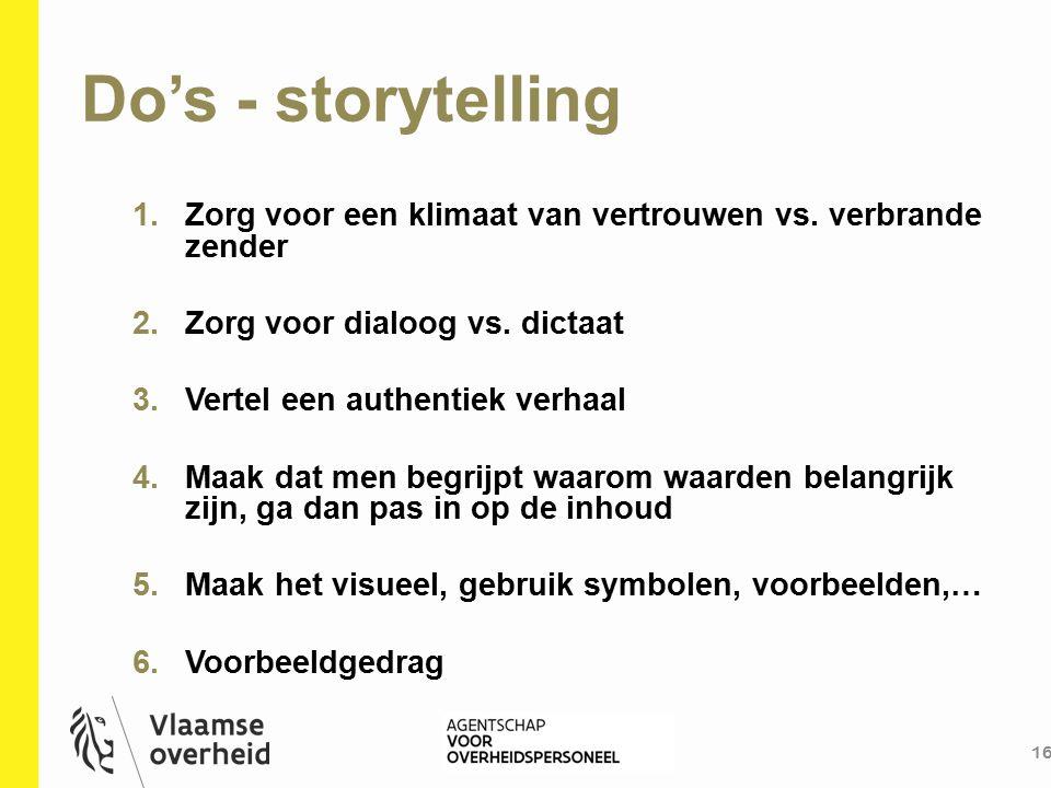 Do's - storytelling Zorg voor een klimaat van vertrouwen vs. verbrande zender. Zorg voor dialoog vs. dictaat.
