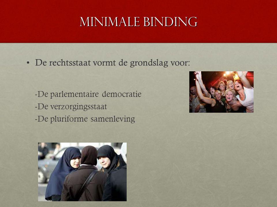 Minimale binding De rechtsstaat vormt de grondslag voor:
