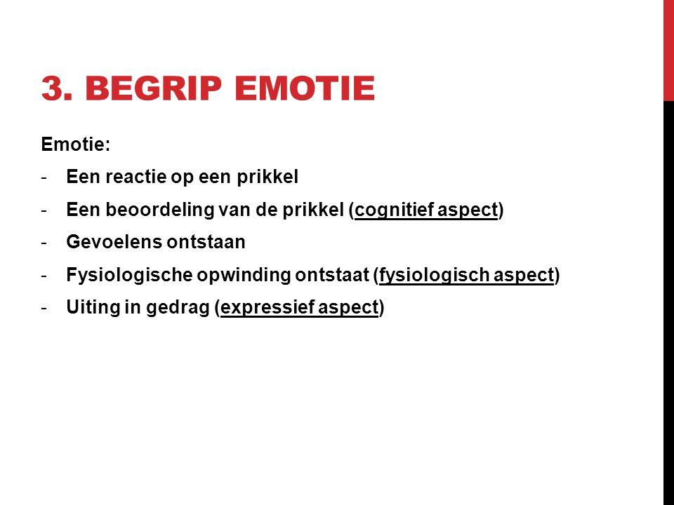 3. Begrip emotie Emotie: Een reactie op een prikkel