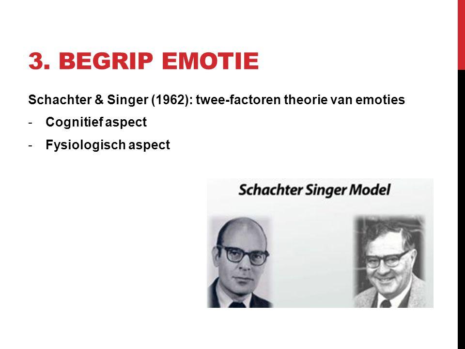 3. Begrip emotie Schachter & Singer (1962): twee-factoren theorie van emoties.