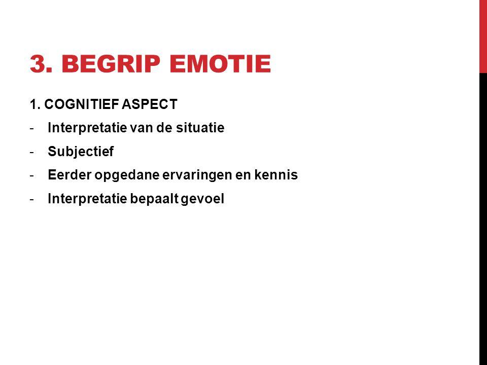 3. Begrip emotie 1. COGNITIEF ASPECT Interpretatie van de situatie