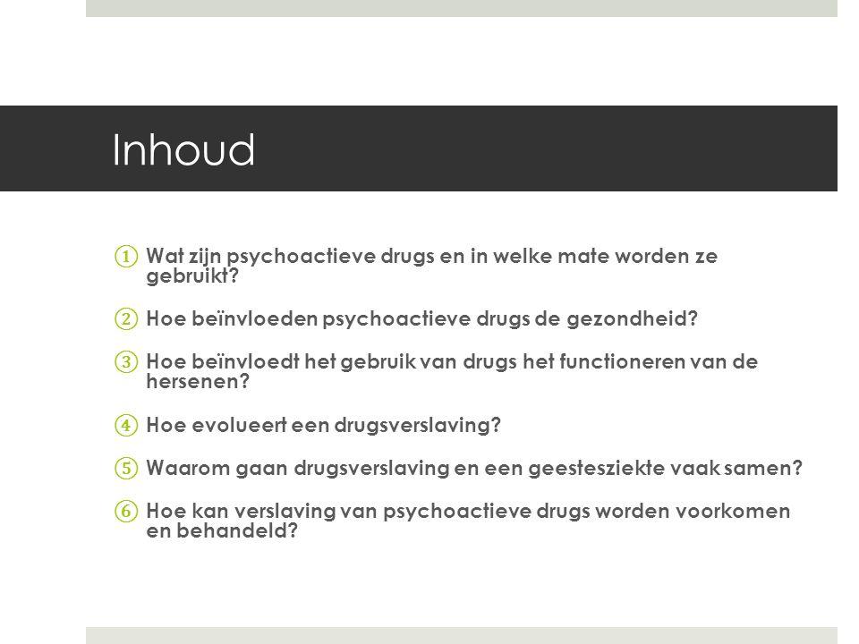 Inhoud Wat zijn psychoactieve drugs en in welke mate worden ze gebruikt Hoe beïnvloeden psychoactieve drugs de gezondheid