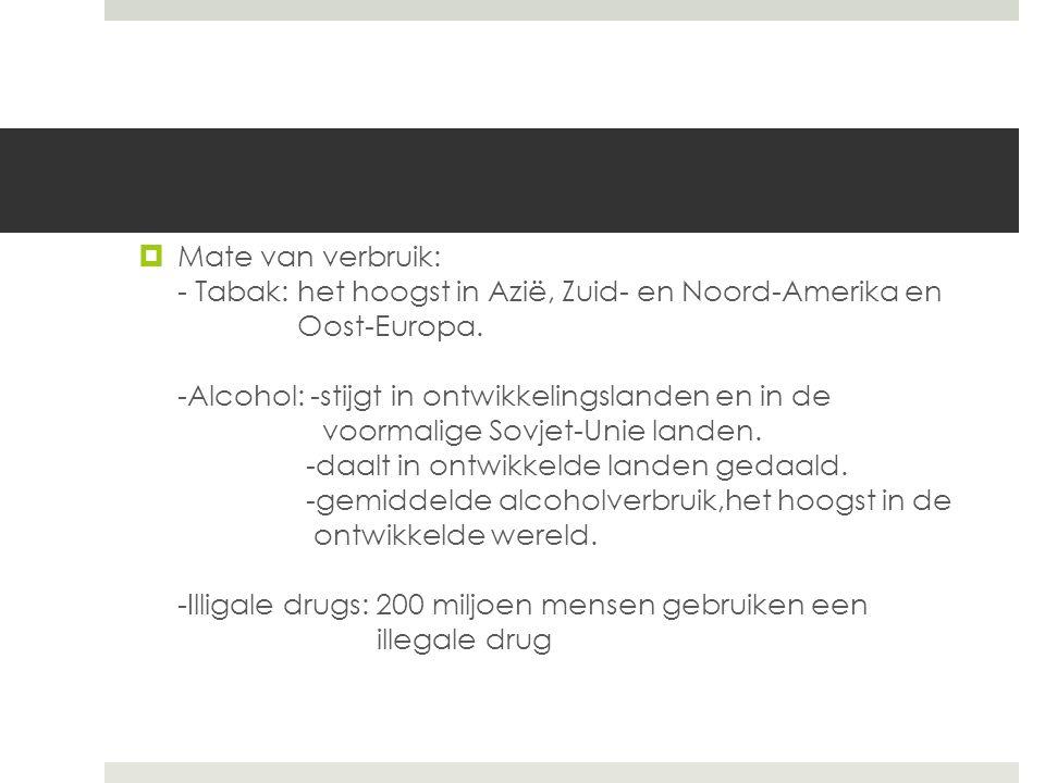 Mate van verbruik: - Tabak: het hoogst in Azië, Zuid- en Noord-Amerika en Oost-Europa.