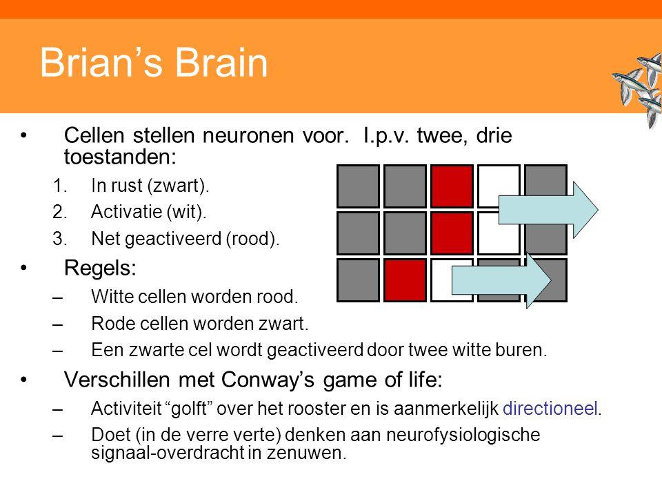 Brian's Brain Cellen stellen neuronen voor. I.p.v. twee, drie toestanden: In rust (zwart). Activatie (wit).