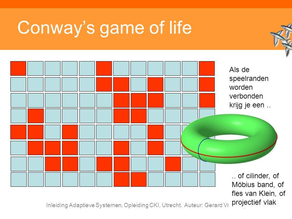 Conway's game of life Als de speelranden worden verbonden krijg je een .. .. of cilinder, of Möbius band, of fles van Klein, of projectief vlak.