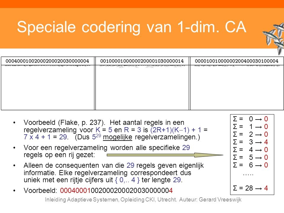 Speciale codering van 1-dim. CA