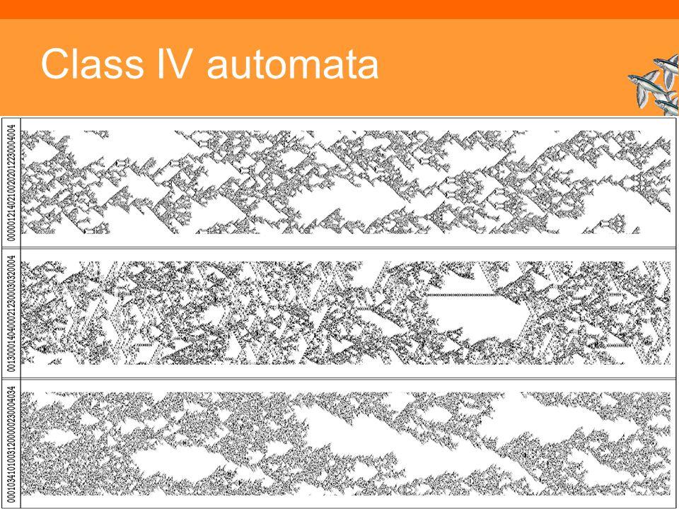 Class IV automata Inleiding Adaptieve Systemen, Opleiding CKI, Utrecht. Auteur: Gerard Vreeswijk