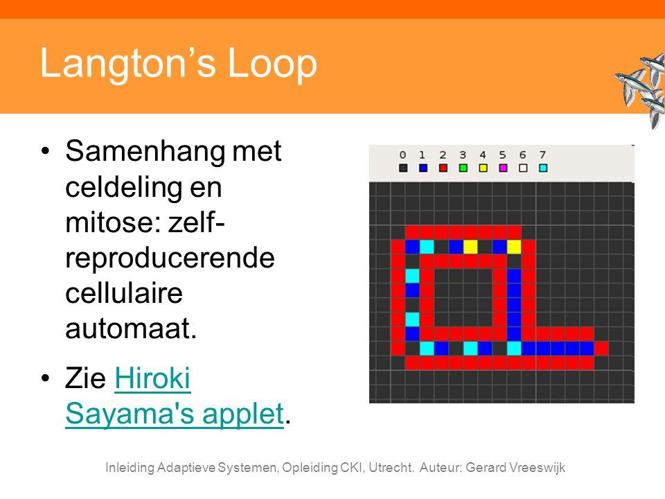 Langton's Loop Samenhang met celdeling en mitose: zelf-reproducerende cellulaire automaat. Zie Hiroki Sayama s applet.