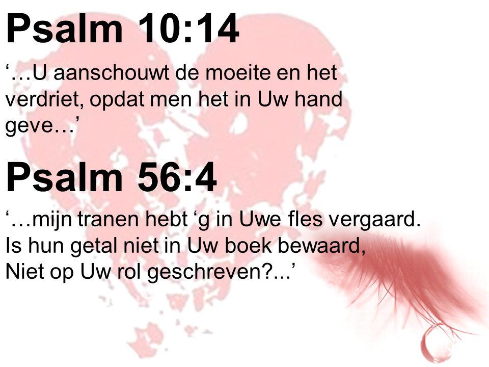 Psalm 10:14 '…U aanschouwt de moeite en het verdriet, opdat men het in Uw hand geve…' Psalm 56:4. '…mijn tranen hebt 'g in Uwe fles vergaard.