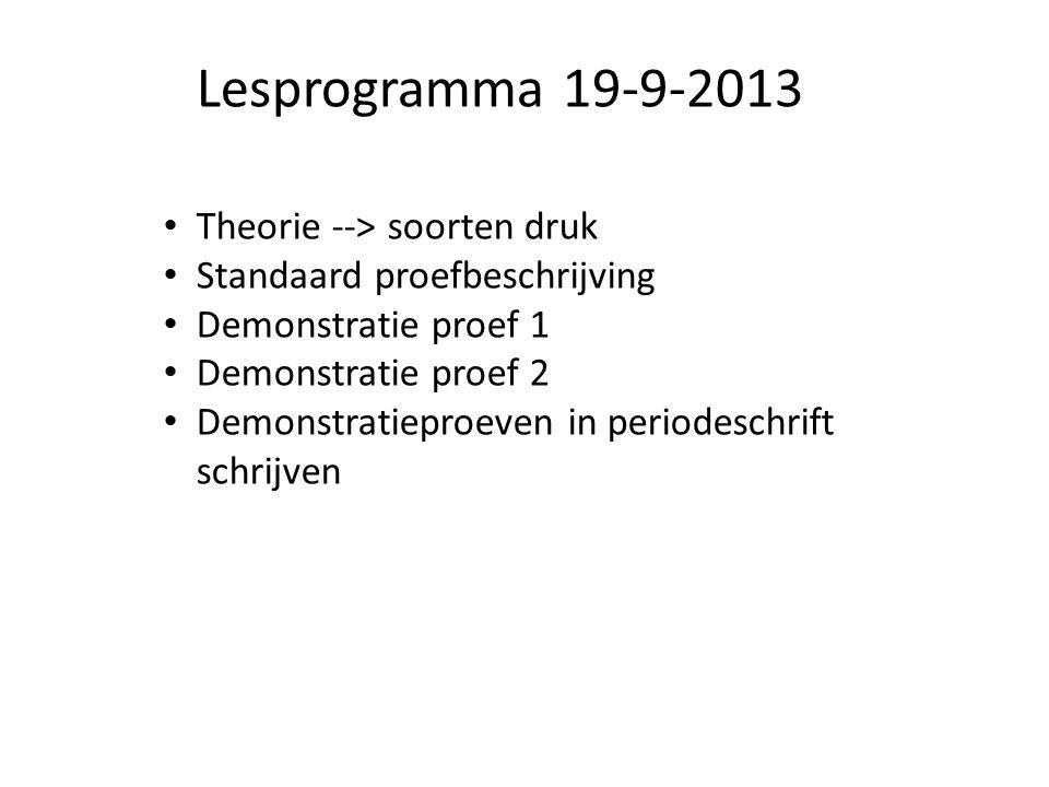 Lesprogramma 19-9-2013 Theorie --> soorten druk