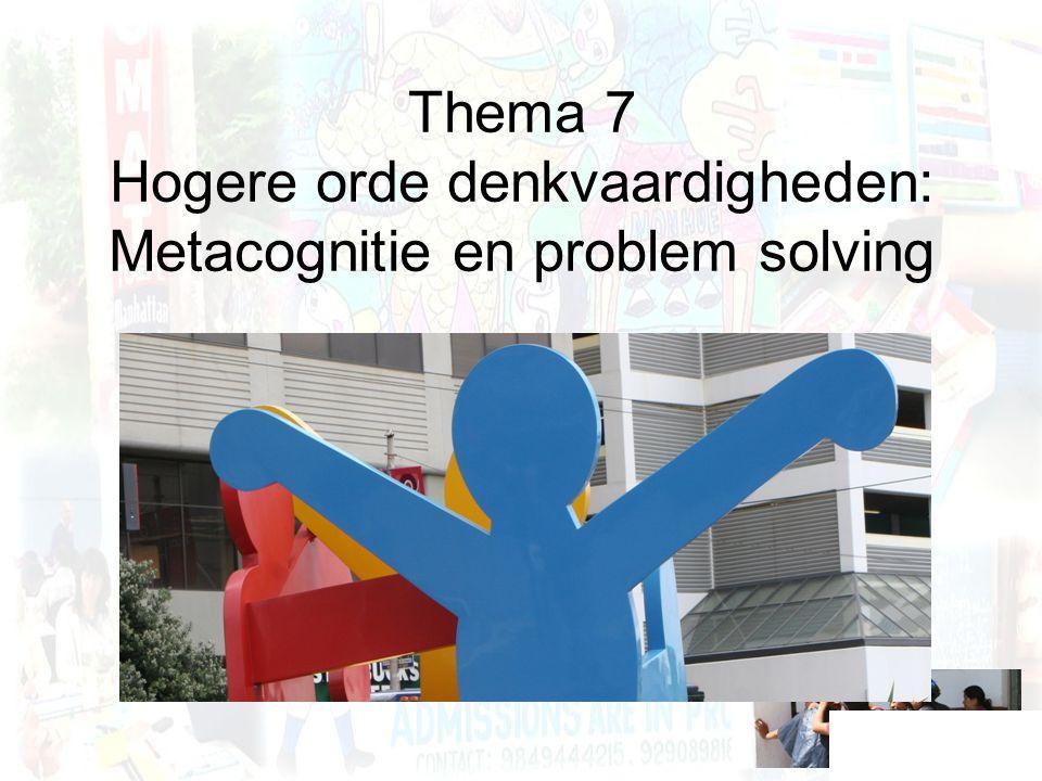 Thema 7 Hogere orde denkvaardigheden: Metacognitie en problem solving