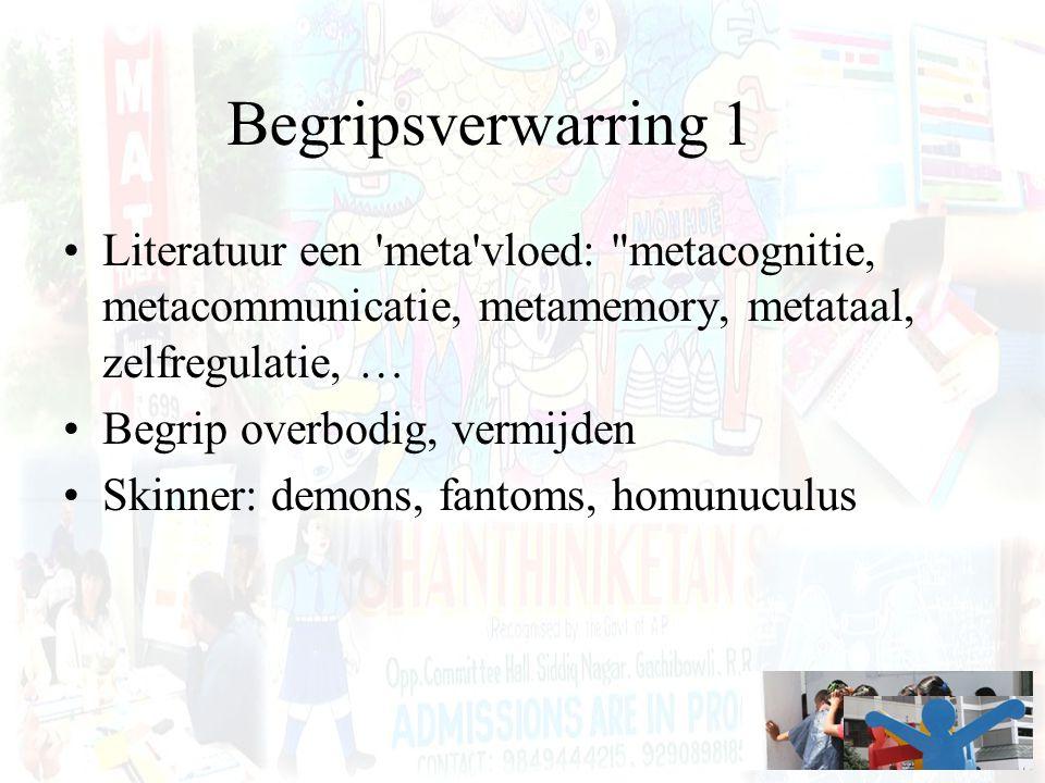 Begripsverwarring 1 Literatuur een meta vloed: metacognitie, metacommunicatie, metamemory, metataal, zelfregulatie, …