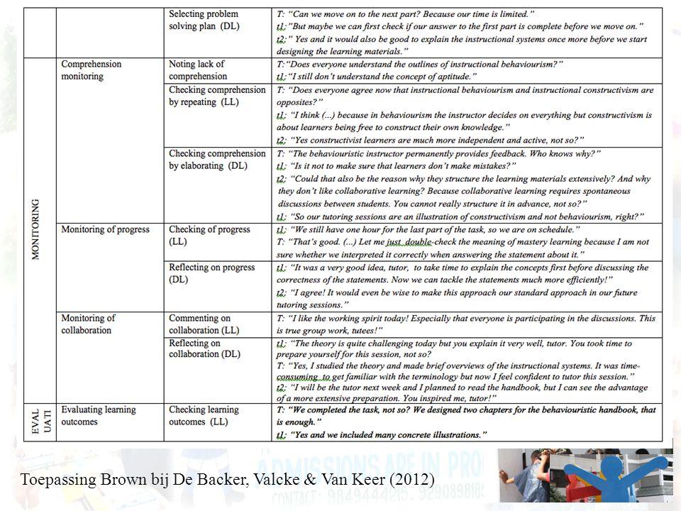 Toepassing Brown bij De Backer, Valcke & Van Keer (2012)