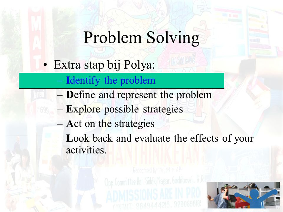 Problem Solving Extra stap bij Polya: Identify the problem