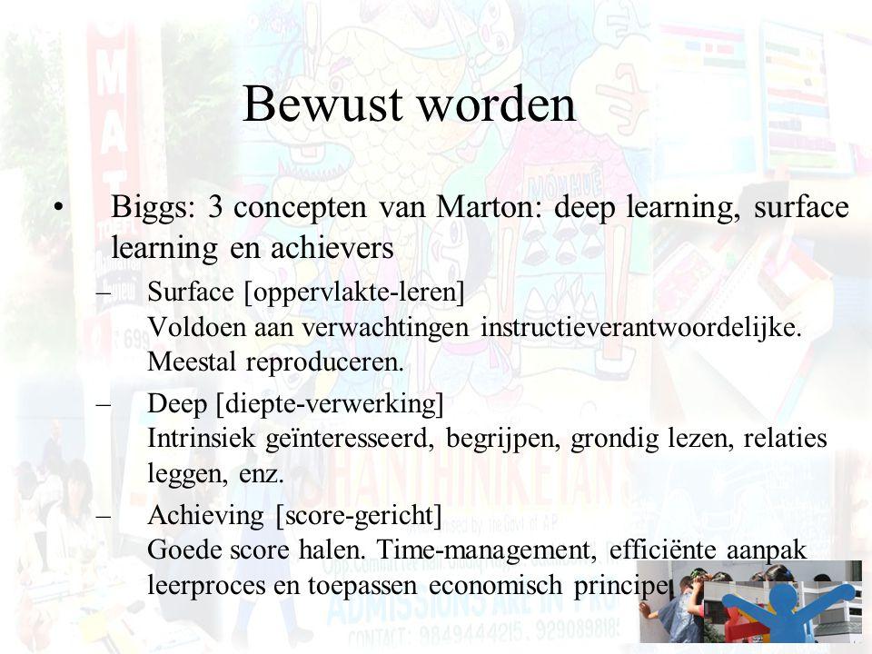 Bewust worden Biggs: 3 concepten van Marton: deep learning, surface learning en achievers.