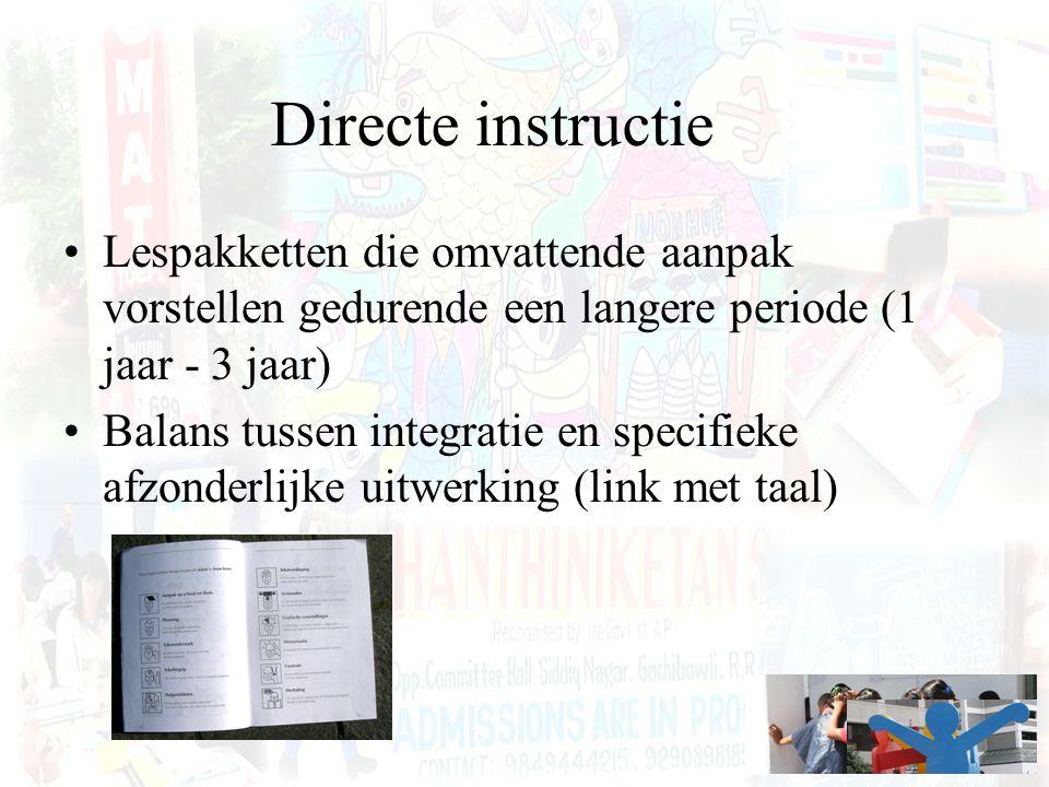 Directe instructie Lespakketten die omvattende aanpak vorstellen gedurende een langere periode (1 jaar - 3 jaar)