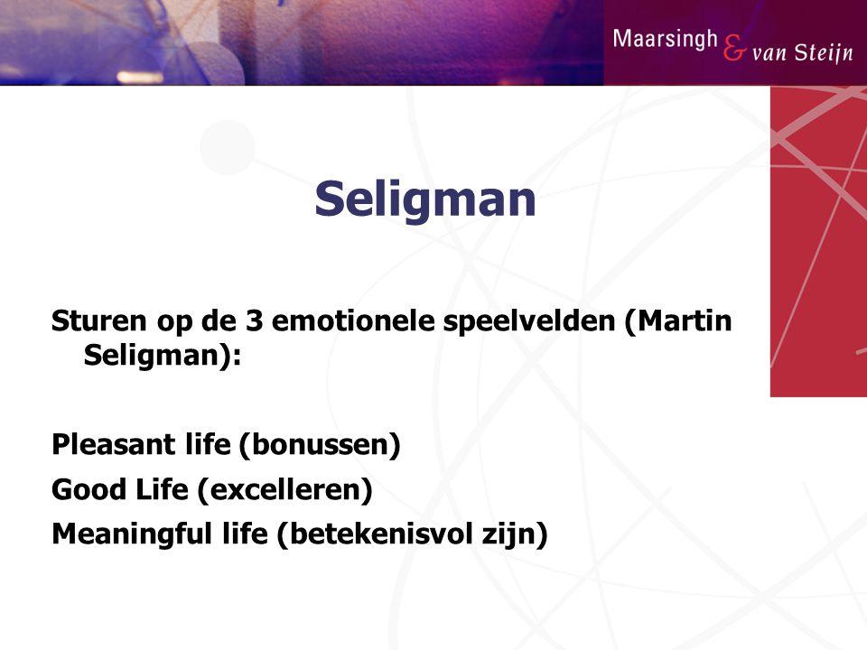 Seligman Sturen op de 3 emotionele speelvelden (Martin Seligman):