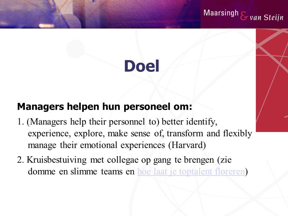 Doel Managers helpen hun personeel om: