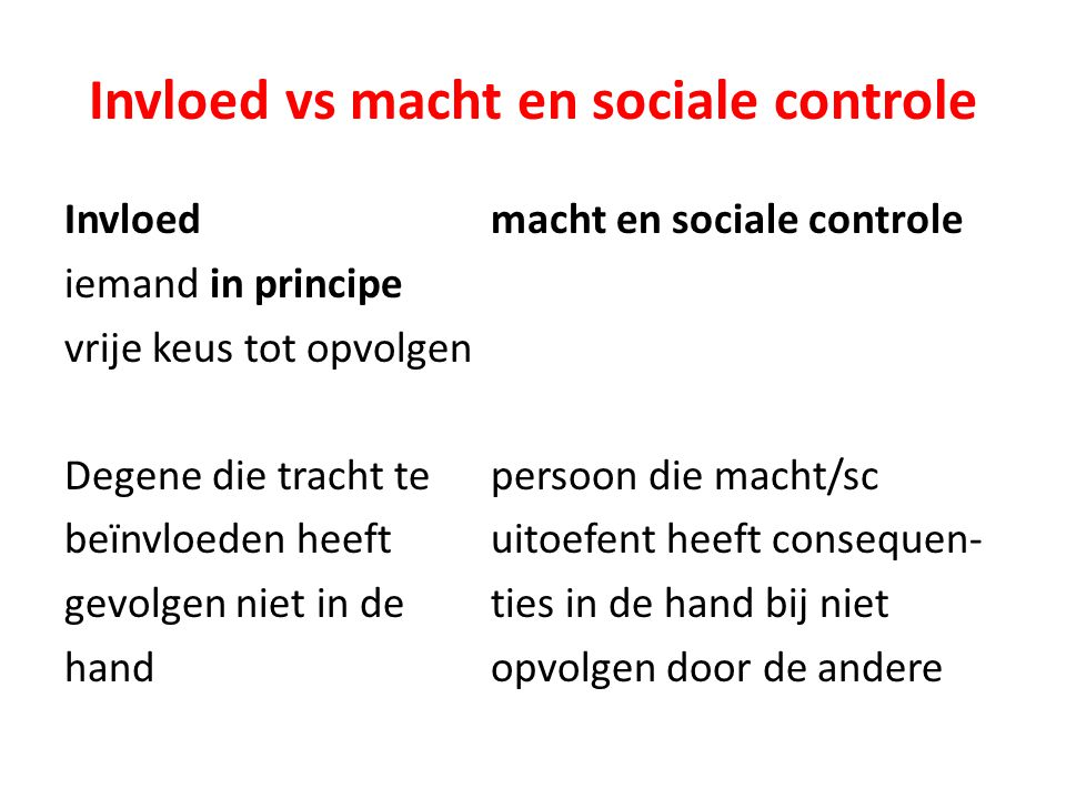 Invloed vs macht en sociale controle