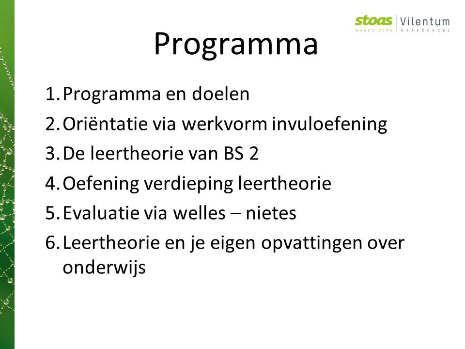 Programma Programma en doelen Oriëntatie via werkvorm invuloefening
