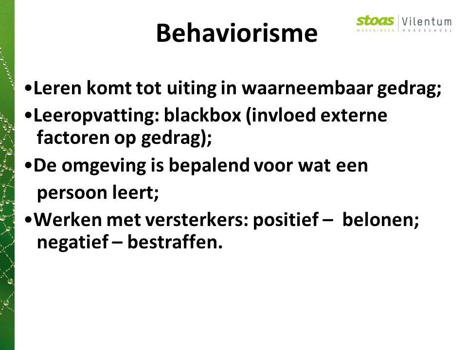 Behaviorisme Leren komt tot uiting in waarneembaar gedrag;