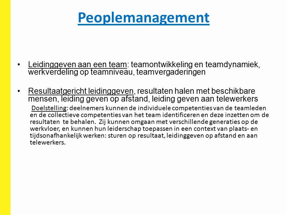 Peoplemanagement Leidinggeven aan een team: teamontwikkeling en teamdynamiek, werkverdeling op teamniveau, teamvergaderingen.