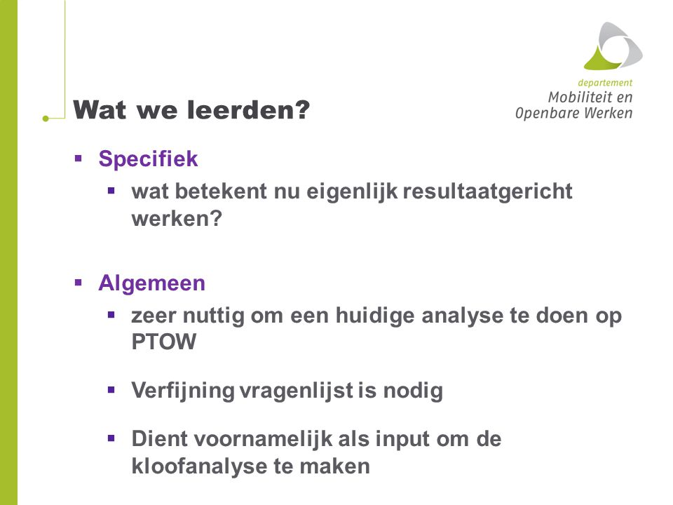 Wat we leerden Specifiek