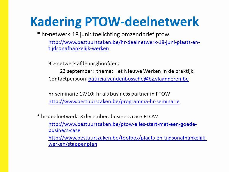Kadering PTOW-deelnetwerk