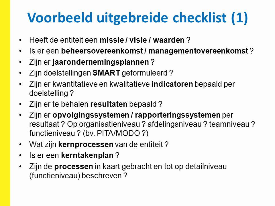 Voorbeeld uitgebreide checklist (1)