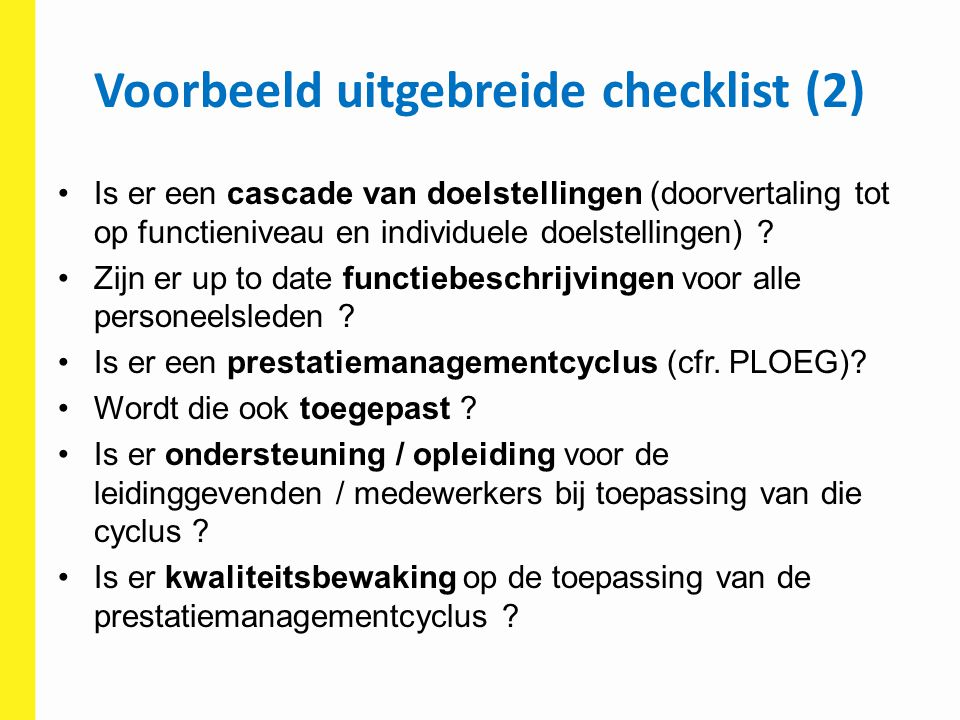 Voorbeeld uitgebreide checklist (2)
