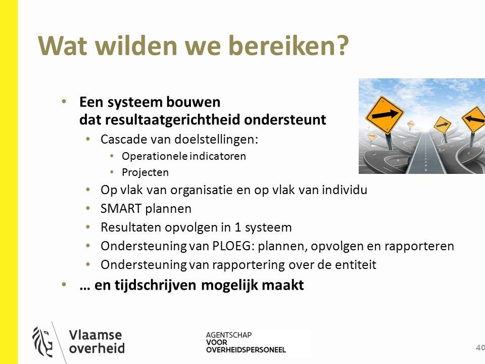 Wat wilden we bereiken Een systeem bouwen dat resultaatgerichtheid ondersteunt. Cascade van doelstellingen: