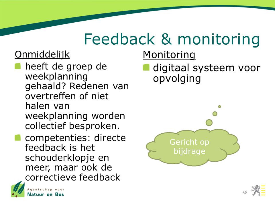 Feedback & monitoring Monitoring digitaal systeem voor opvolging