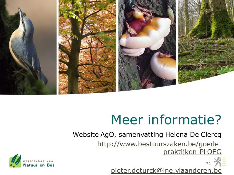 Meer informatie Website AgO, samenvatting Helena De Clercq