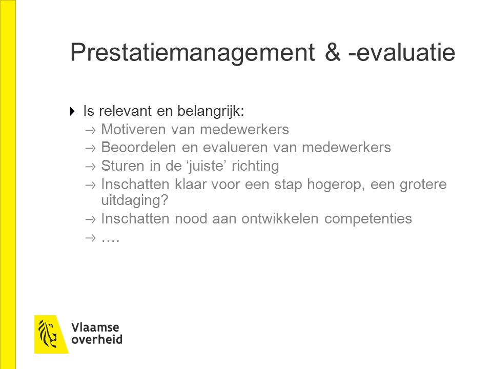 Prestatiemanagement & -evaluatie