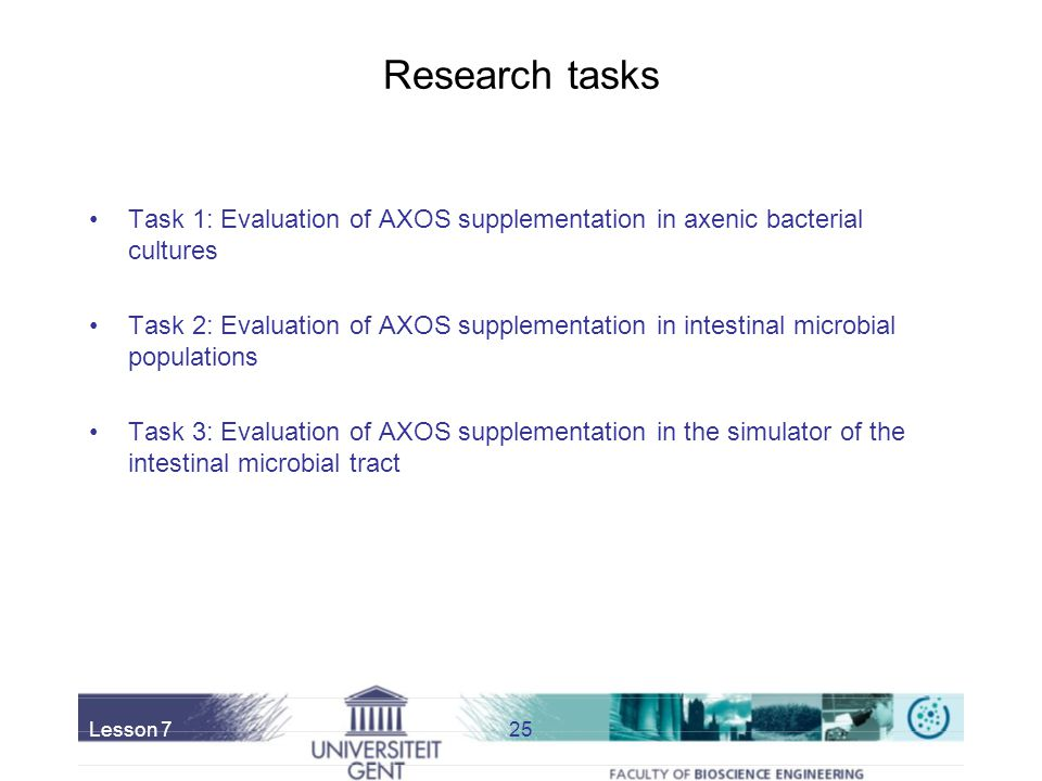 Research tasks Task 1: Evaluation of AXOS supplementation in axenic bacterial cultures.