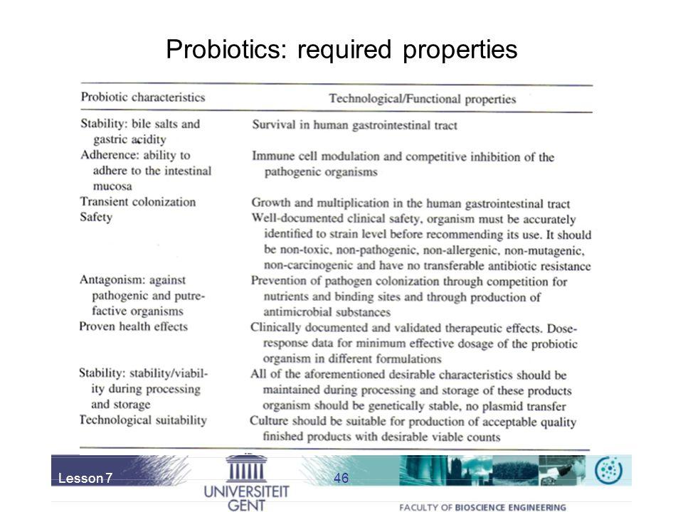 Probiotics: required properties