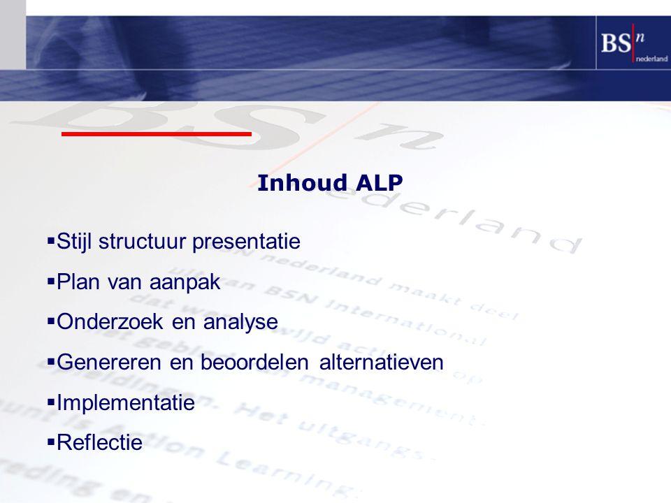 Inhoud ALP Stijl structuur presentatie. Plan van aanpak. Onderzoek en analyse. Genereren en beoordelen alternatieven.