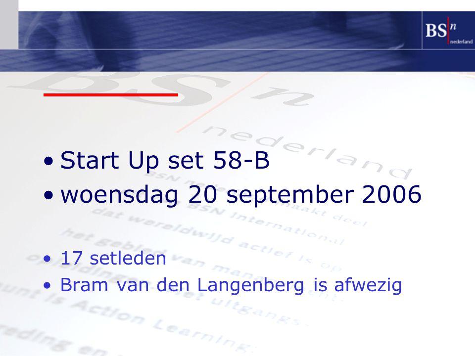 Start Up set 58-B woensdag 20 september 2006 17 setleden
