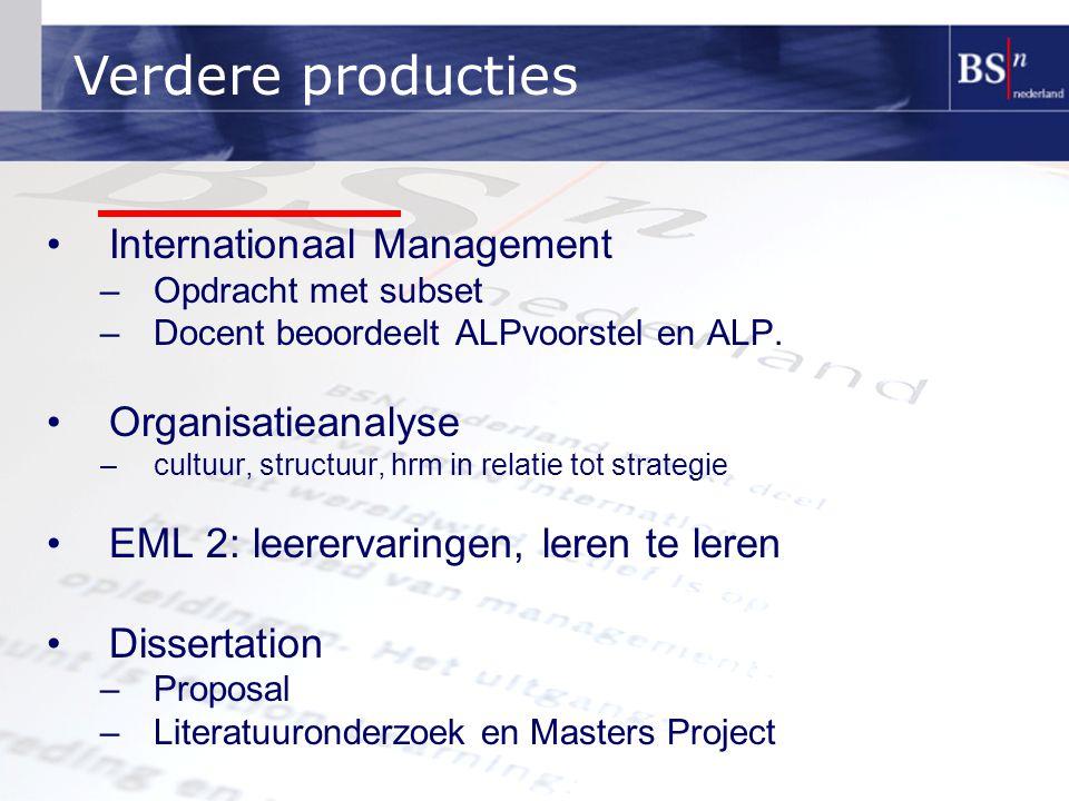 Verdere producties Internationaal Management Organisatieanalyse