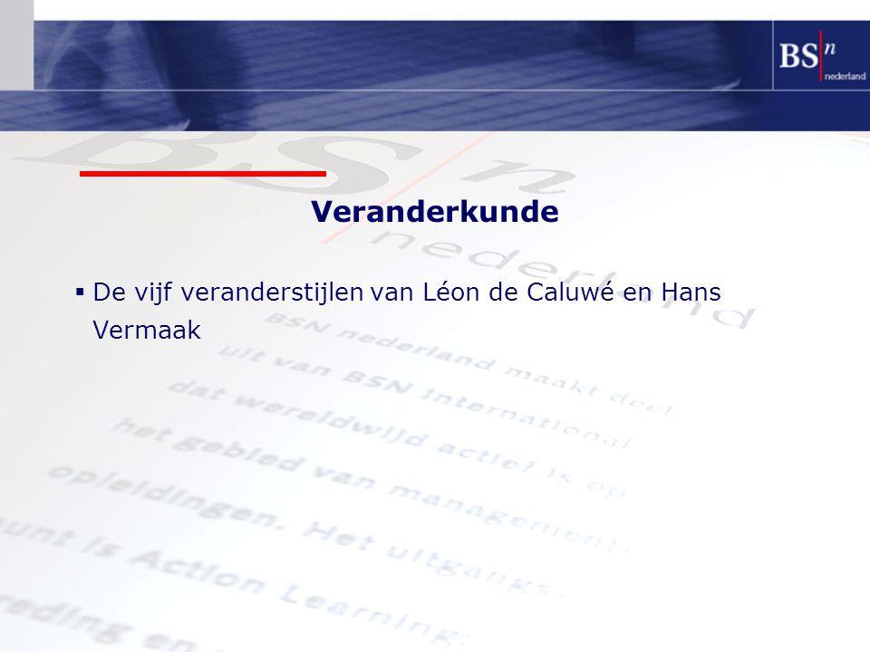 De vijf veranderstijlen van Léon de Caluwé en Hans Vermaak