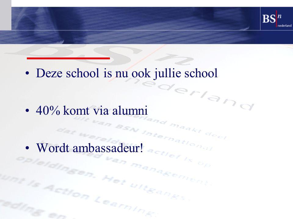 Deze school is nu ook jullie school