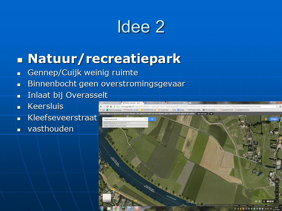 Idee 2 Natuur/recreatiepark Gennep/Cuijk weinig ruimte