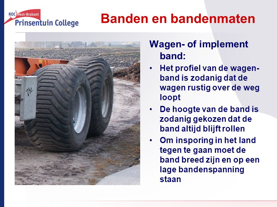 Banden en bandenmaten Wagen- of implement band: