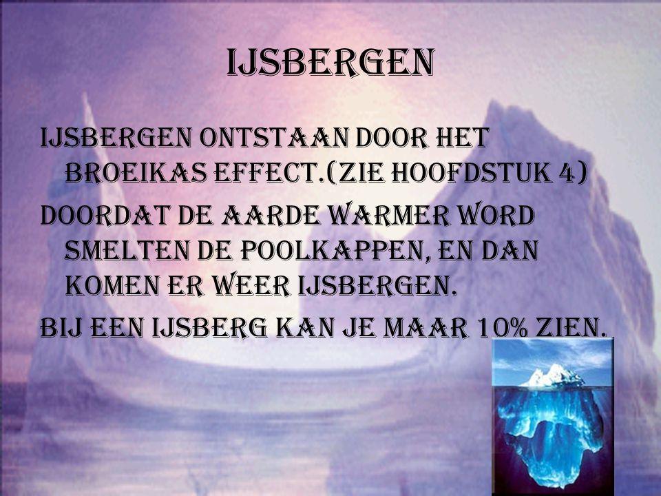 ijsbergen IJsbergen ontstaan door het broeikas effect.(zie hoofdstuk 4)