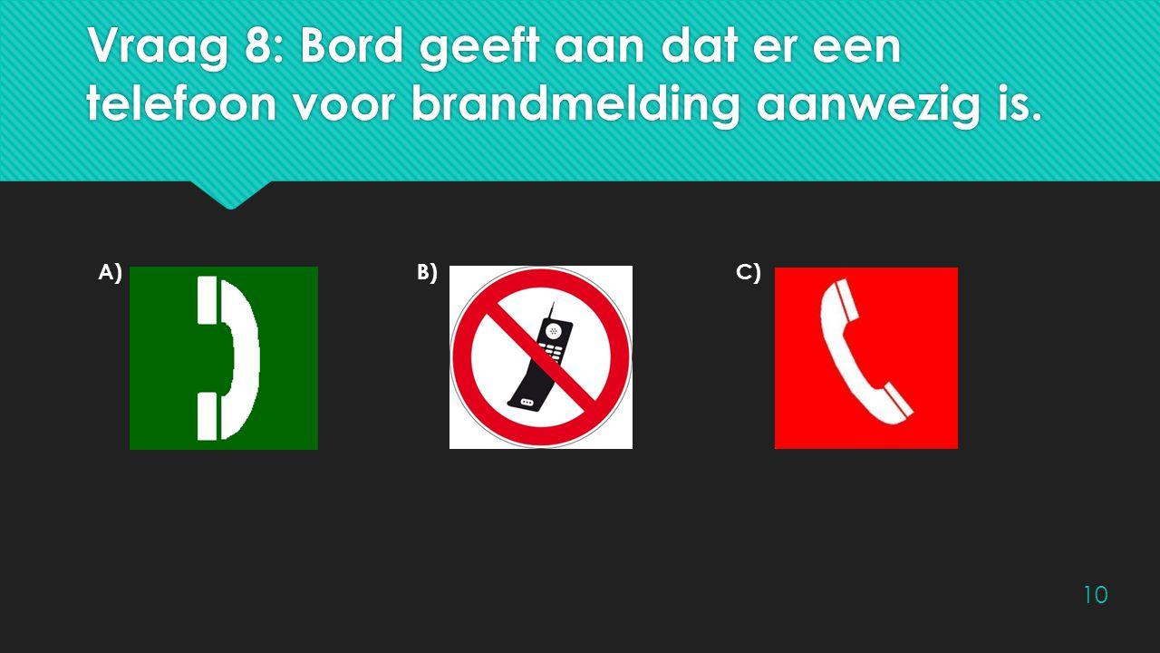 Vraag 8: Bord geeft aan dat er een telefoon voor brandmelding aanwezig is.