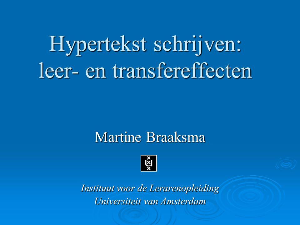 Hypertekst schrijven: leer- en transfereffecten